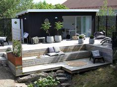 Bergstomten i nacka - chrisp design terrassdesign, trädgårdsdesign, husdesi Fire Pit Backyard, Backyard Patio, Backyard Landscaping, Outdoor Rooms, Outdoor Living, Outdoor Decor, Outdoor Lounge, Back Gardens, Outdoor Gardens