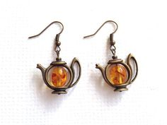 Teapot Honey Amber Antique Brass Earrings by earringsgirl on Etsy
