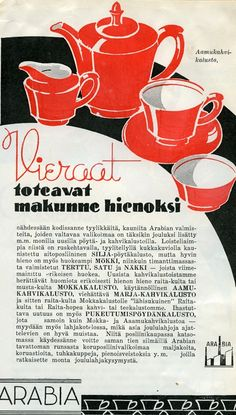 Aamukahvikalusto #Arabia #astiat #Design Old Advertisements, Advertising, Ads, Old Commercials, Finland, China, History, Vintage, Design