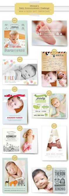 Minted.com $250 gift certificate giveaway - vote on your favorite baby announcement design for a chance to win!