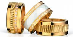 BERING; Arctic Symphony Collection; Twist & Change; Ladies Ring Combination; gold and white