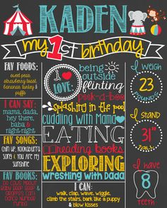 Carnival Circus Theme First Birthday Chalkboard Poster Circus Animals Chalk Board Printable Custom by PersonalizedChalk on Etsy