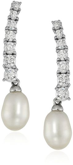 Platinum-Plated Sterling Silver Cubic Zirconia Freshwater Cultured Pearl Ear Climbers Earrings -- Click image to review more details.