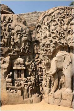 'Descent of the Ganges' at Mahabalipuram, Tamil Nadu, India, is one of a group of monuments that were designated as a World Heritage Site since 1984. Measuring 96 feet (29 m) long by 43 feet (13 m) high, it is a giant open-air relief carved of the a monolithic rock. The monuments and sanctuaries were built by the Pallava kings in the 7th and 8th centuries.