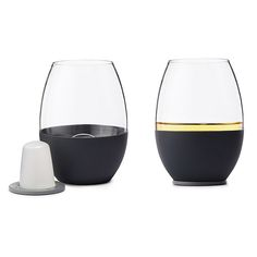 Self Chilling Wine Glasses - Set of 2 | stemless wine glasses, stainless steel ice cubes | UncommonGoods