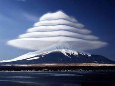 Lenticular clouds over Mt. Fuji in Japan.