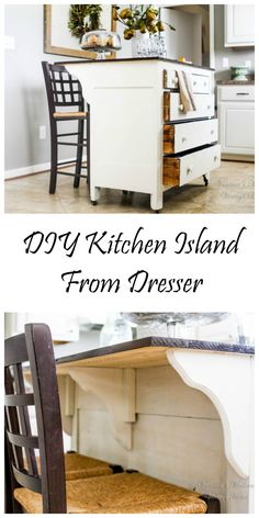 Do you need more storage in your kitchen? Do you have space for an kitchen island? Why not make one out of an old dresser?