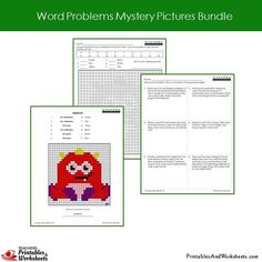 Grade 2 Word Problems Mystery Pictures Coloring Worksheets - Monster 2nd Grade Math Worksheets, Teacher Worksheets, Second Grade Math, Grade 2, Addition Words, Problem Set, Coloring Worksheets, Bar Graphs