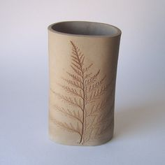 fern pottery vase by KensGardenPottery on Etsy..... add a handle and it would be a great tea mug