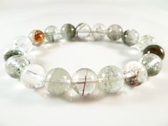 Lodolite Stretch Bracelet Smooth Round 11mm Included Quartz Beads by SandiLaneFineArt on Etsy