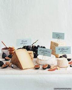 Having a cheese table is a great idea for the reception cocktail hour. {via Martha Stewart Weddings , Summer Picnic Wedding ) Cheese Table, Cheese Platters, Food Platters, Gourmet Cheese, Wine Cheese, Chutney, Cheese Display, Cheese Fruit, Cheese Food