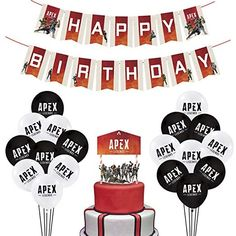 Video Game Party Supplies Includes Cake Topper - 18 Latex Baloons - Unique Apex Legends Banner Perfect Gamer Birthday Decorations Favors for Kids (Red) Birthday Games, 13th Birthday, Birthday Parties, Love Decorations, Birthday Decorations, Video Game Party, Party Packs, Perfect Party, Google Play