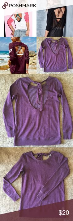 Victoria's Secret Open Back Sweatshirt Beautiful color and super comfy! Like new. Open back with tie closure.   ✔️If you'd like to MAKE AN OFFER please do so through the offer button ONLY. I won't negotiate prices in the comments.  ✔️All items $15 and under are firm unless BUNDLED.  ❌No trades, PayPal, Holds 📷Instagram: @lovelionessie Victoria's Secret Sweaters