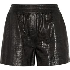 Alexander Wang Croc-effect leather shorts ($850) ❤ liked on Polyvore