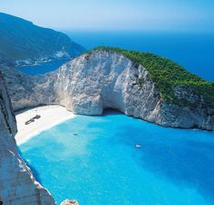 Navagio bay, crystal clear waters. Greece.