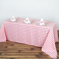 Checkered Polyester Rectangular Linen Home Picnic Tablecloth - White/Rose Quartz Checkered Tablecloth, Picnic Tablecloth, Linen Tablecloth, Tablecloths, Checker Design, Pink Gingham, Gingham Decor, Used Chairs, Table Covers