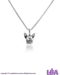 (LBA) Best Gift Idea for Dog Lovers - Simple Design Vintage Silver Tone Women Fashion Jewelry: Tiny FRENCH BULLDOG FACE Pendant Chain Necklace