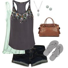 lace layered under an embellished tank, paired with denim shorts & casual flip flops :)