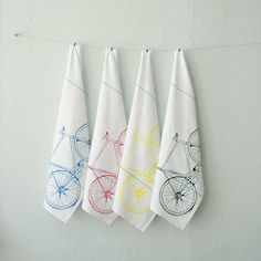 CMYK bicycle tea towel set  four hand printed cotton bike by vital, $32.00