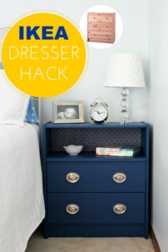 Ikea Dresser Rast Hack. Love the idea of removing a drawer and mod podging fabric to the back!