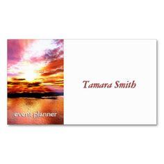 Orange White And Blue Event Planner Business Card  Texts