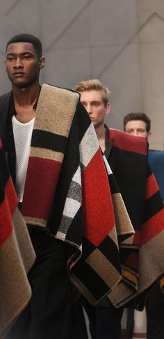 GENIUS. Geometric check scarves for the finale - the Burberry Menswear A/W14 show