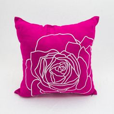 Fuchsia Pink Flower pillow cover which made from fuchsia pink linen fabric and embroidered with white gorgeous rose.  This pillow cover has hidden zipper at the bottom side and it is available in size 16 x 16, size 18 x 18, size 20 x 20, size 24 x 24 and size 26 x 26. Choose the size you need by using the Size drop down menus.  This listing is for pillow cover only without insert/filler.  Mix and match pillow covers are available here…