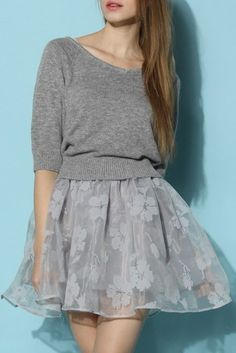 Bonjour Twinset Organza Dress in Grey. Love the skirt!