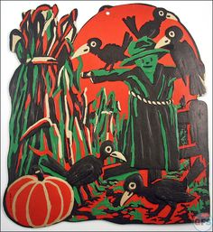 0d5e6879c7a Vintage Beistle Halloween decoration - scarecrow in field Halloween Ghosts