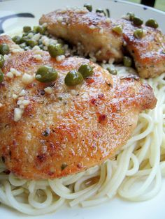 Chicken Piccata - original recipe from epicurious march 1998 recipe. Let the floured chicken stand so flour doesn't fall off when frying. No egg! After chicken, sauté shallots and garlic, add wine, broth and juice, boil, then flour butter mixture until thickened. Add capers and more butter and parsley. Delish!