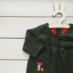 Linen Baby Jumpsuit Fairy Forest Playsuit for Kids Fly Agaric Embroidery | Etsy | MaryLinen
