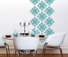 White wall decals - not teal.  Scroll Damask- 18 graphics- 10026 Vinyl Wall Decal, Sticker. $44.00, via Etsy.