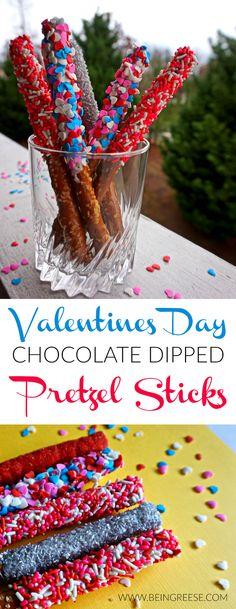 Simple and tasty! Valentine's Day Chocolate Covered Pretzel Sticks!