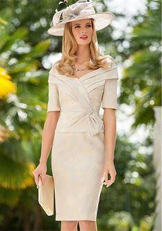 Ispirato - Occasion Wear Sunflower Print Dress Nougat - www.mcelhinneys.com