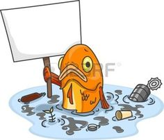 water pollution: Illustration of Sad Fish in Polluted Water Carrying a Blank Board Stock Photo Water Pollution Poster, Water Poster, Air Pollution, Water Drawing, Water Art, Fish Drawings, Cartoon Drawings, Drawings With Meaning, No Plastic