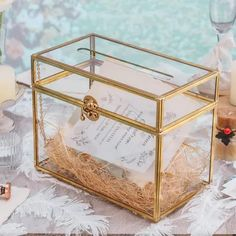 It will be shipped in about 1 week. Please note, reinforced glass can not be engraved. 1. This is a large rectangle shape beautiful geometric terrarium, with swing lid. It is great for centerpiece / envelope container on your table / reception 2. It features a slot on the top to slide your cards in.