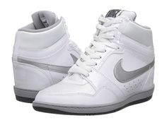 Nike Force Sky High Sneaker Wedge White/Metallic Silver/Dark Grey - Zappos.com Free Shipping BOTH Ways