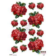 Hartie Decoupage Clasica : Hartie decoupage A4 - Buchet trandafiri rosii