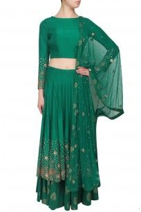 Green zardozi and sequins embroidered lehenga and crop top set