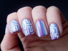 Chalkboard Nails: Maze Patterned Gradient Nails
