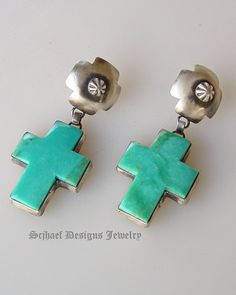 Bennie Ration for Rocki Gorman Designs Turquoise & Sterling Silver cross post earrings| Collectible Native American Turquoise online Jewelry gallery | Schaef Designs Collectible artisan handcrafted Southwestern & Equine Jewelry | San Diego CA