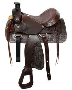 Buffalo roper style saddle with smooth leather seat. Saddle features acorn tooled skirts and partial acorn tooling on fenders and jockies. Pommel features natural rawhide overlay with acorn tooling. S