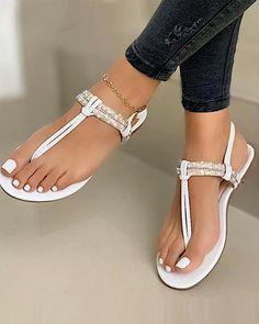 Sandals For Sale, Flat Sandals, Flipflops, Pretty Sandals, T Strap Flats, Peep Toe, Black White Gold, Striped Long Sleeve Shirt, Mary Jane Heels