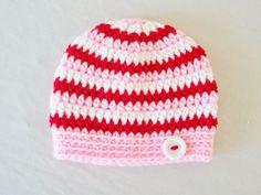 Crochet (Valentine's Day) Stripe Beanie Hat (Red, Pink & White) - Etsy $30.00
