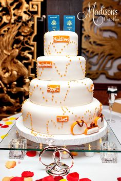 Adorable Travel Themed Wedding Cake