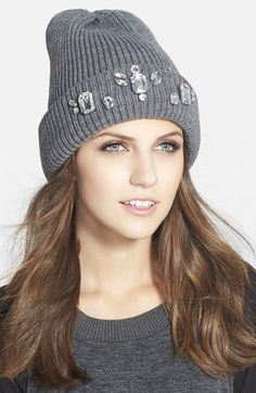 Halogen® Jewel Embellished Beanie at Nordstrom.com. The season's favorite rib-knit beanie goes posh with sparkling crystals on the cuff.