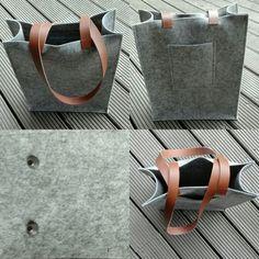 Een tas voor mezelf uit vilt en met riemen uit leer. Patroon van de Knip.