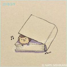 1436 本の中から The hedgehog comes out from a book. #illustration #hedgehog #イラスト #ハリネズミ #なみはりねずみ
