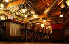 Tiki Bar, lamps, chairs, prints and bamboo