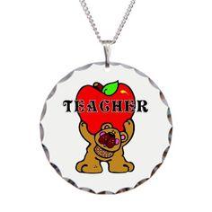 Teacher Apples Bear Necklace